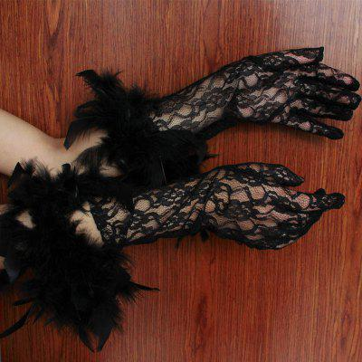 MCYH 548 Gothic Midnight Black Party Halloween Long Lace Gloves with FeatherHalloween Supplies<br>MCYH 548 Gothic Midnight Black Party Halloween Long Lace Gloves with Feather<br><br>Color: Black<br>For: All, Lover<br>Material: Lace<br>Package Contents: 1 x Pair of Gloves<br>Package size (L x W x H): 15.00 x 16.00 x 3.00 cm / 5.91 x 6.3 x 1.18 inches<br>Package weight: 0.0800 kg<br>Usage: Party, Performance, Halloween, Valentine Gift, Wedding, Easter, Stage