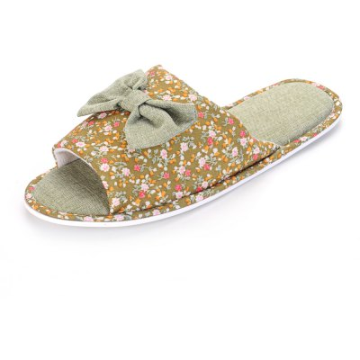 Ladies Bowknot Cotton House Slippers Warm Padded Flip Flops Platform Open Toe Sandals