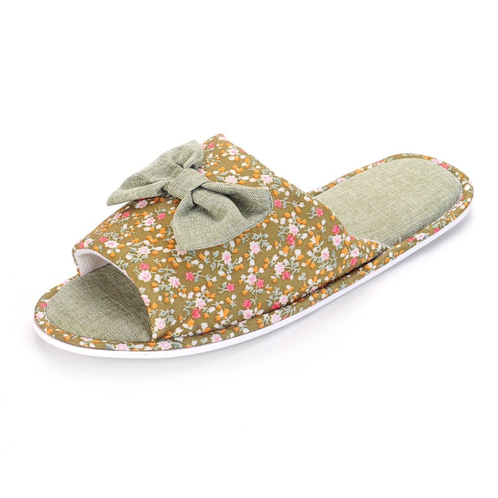 0479457550bd Ladies Bowknot Cotton House Slippers Warm Padded Flip Flops ...