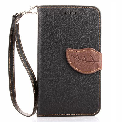 Buy BLACK Love Leaf Card Lanyard Pu Leather for LG L70 for $5.93 in GearBest store