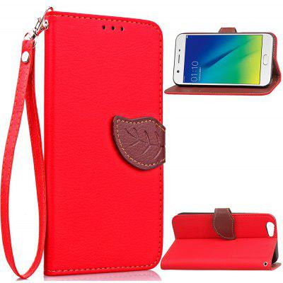 Buy RED Love Leaf Card Lanyard Pu Leather for	OPPO A39 for $6.07 in GearBest store