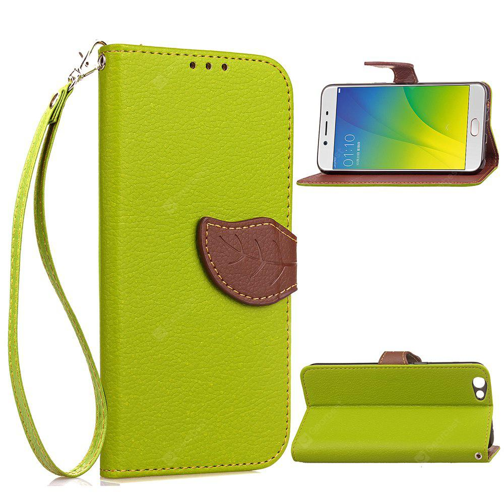 GREEN Love Leaf Card Lanyard Pu Leather for OPPO R9S PLUS