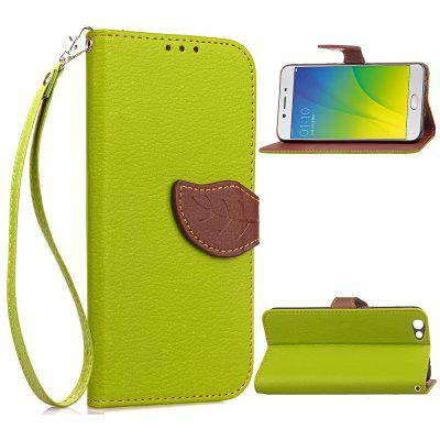 Buy GREEN Love Leaf Card Lanyard Pu Leather for OPPO R9S for $6.20 in GearBest store
