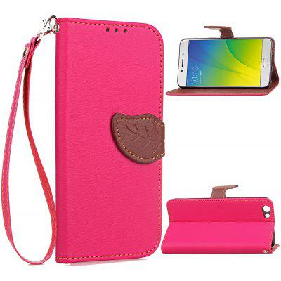 Buy ROSE RED Love Leaf Card Lanyard Pu Leather for OPPO R9S for $6.20 in GearBest store