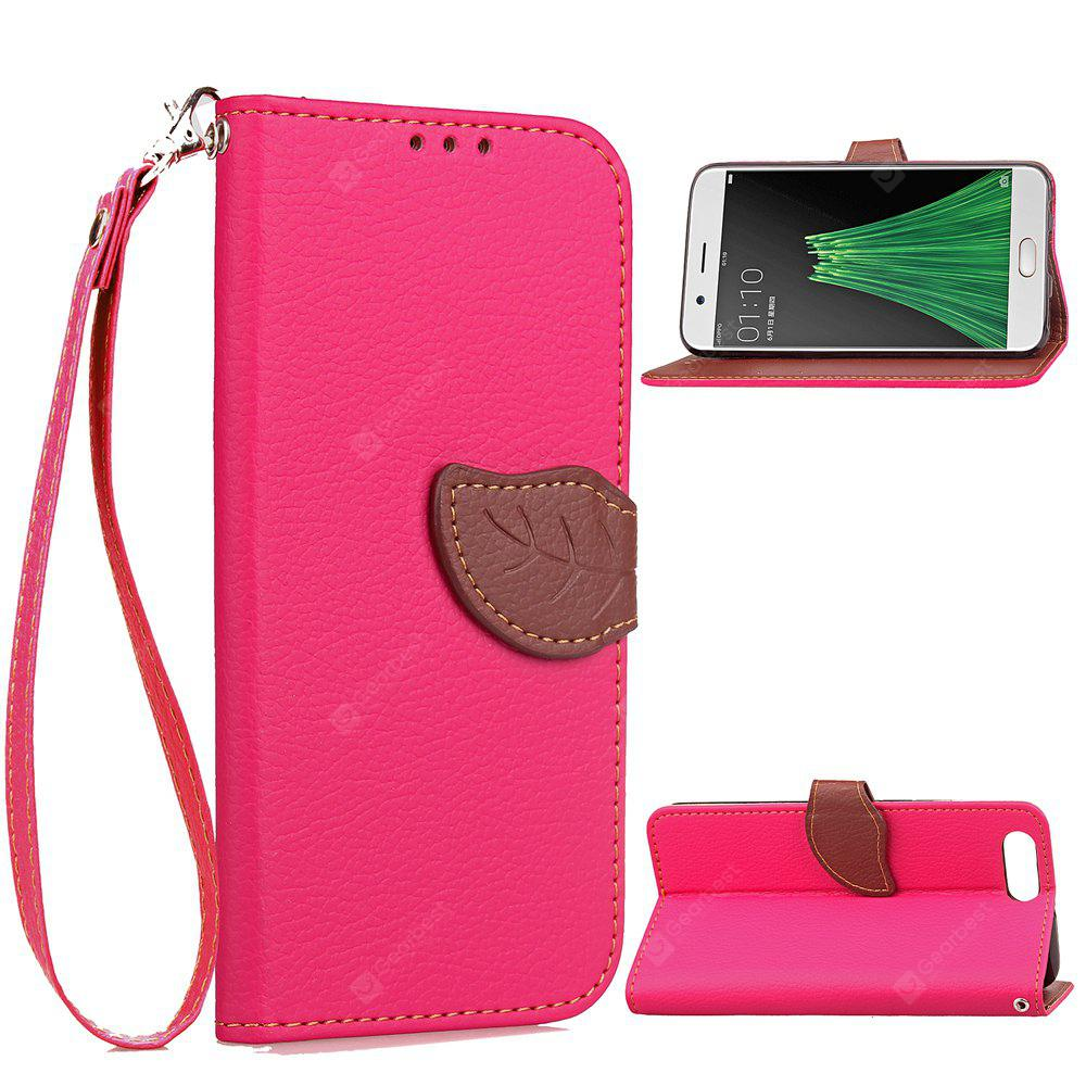 ROSE RED Love Leaf Card Lanyard Pu Leather for OPPO R11 PLUS
