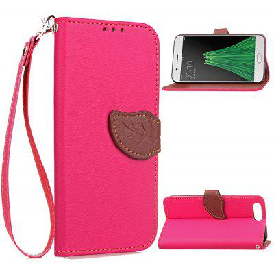 Buy ROSE RED Love Leaf Card Lanyard Pu Leather for OPPO R11 for $6.20 in GearBest store
