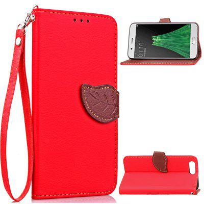 Buy RED Love Leaf Card Lanyard Pu Leather for OPPO R11 for $6.20 in GearBest store