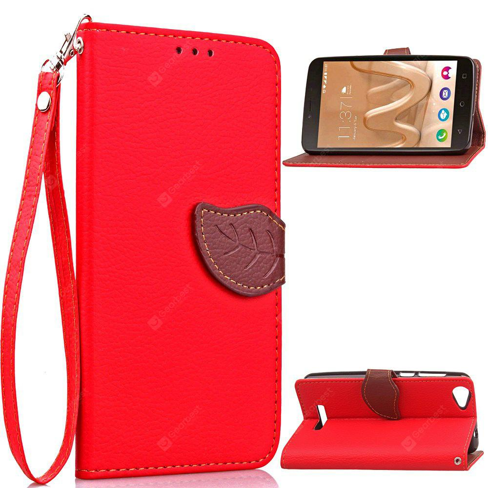 RED Love Leaf Card Lanyard Pu Leather for Viko Lenny3 MAX