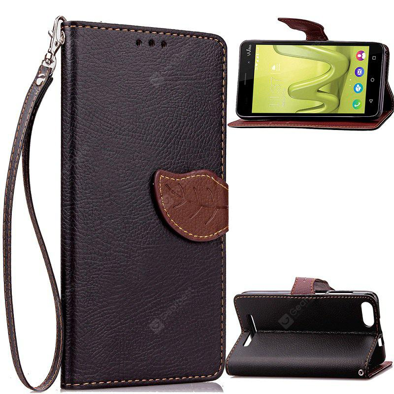 BLACK Love Leaf Card Lanyard Pu Leather for Viko Lenny3
