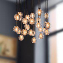 LANSHI Modern Clear Cast Glass Ball Meteor Shower Chandelier With Polished Chrome Stainless Steel Lighitng Fixture 220 - 240V