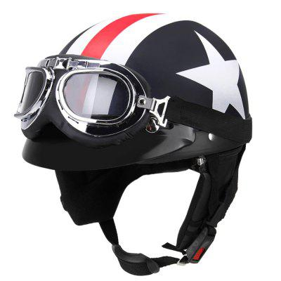 Unisex Captain America Vintage Star Stripes Motorcycle Helmets Open Face Half Motorbike Helmet Capacete with GogglesOther  Motorcycle Accessories<br>Unisex Captain America Vintage Star Stripes Motorcycle Helmets Open Face Half Motorbike Helmet Capacete with Goggles<br><br>Accessories type: Others<br>Applicable Motorcycle Brand: For Aprilia,For BMW,For Ducati,For Honda,For Kawasaki,For MV Agusta,For Suzuki,For Triumph,For Yamaha,Universal<br>Avaliable Color: Black<br>Package Contents: 1 x Helmet, 1 x Goggle<br>Package size (L x W x H): 27.00 x 24.00 x 18.00 cm / 10.63 x 9.45 x 7.09 inches<br>Package weight: 0.9000 kg