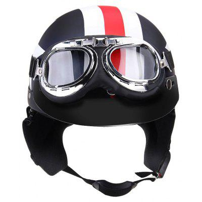 Buy BLACK Unisex Captain America Vintage Star Stripes Motorcycle Helmets Open Face Half Motorbike Helmet Capacete with Goggles for $24.09 in GearBest store