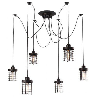Brightness 6 Heads Vintage Art Deco Black Iron Cage Pendant Lights Creative DIY Suspension Lamp Clothing