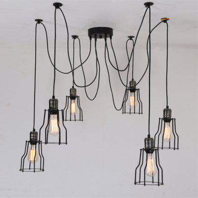 Brightness 6 Heads Vintage Art Deco Black Iron Cage Pendant Lights Creative DIY Living Room Dining