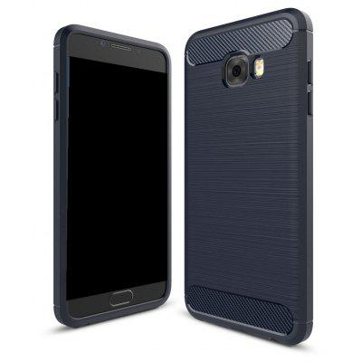 Wkae Solid Color Carbon Fiber Texture TPU Soft Protective Case for Samsung Galaxy C7 Pro