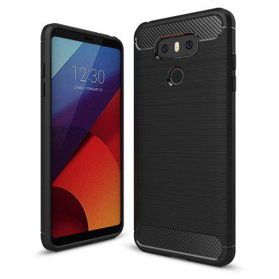 Wkae Solid Color Carbon Fiber Texture TPU Soft Protective Case for LG G6