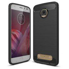 Wkae Solid Color Carbon Fiber Texture TPU Soft Protective Case for MOTO Z2 Play