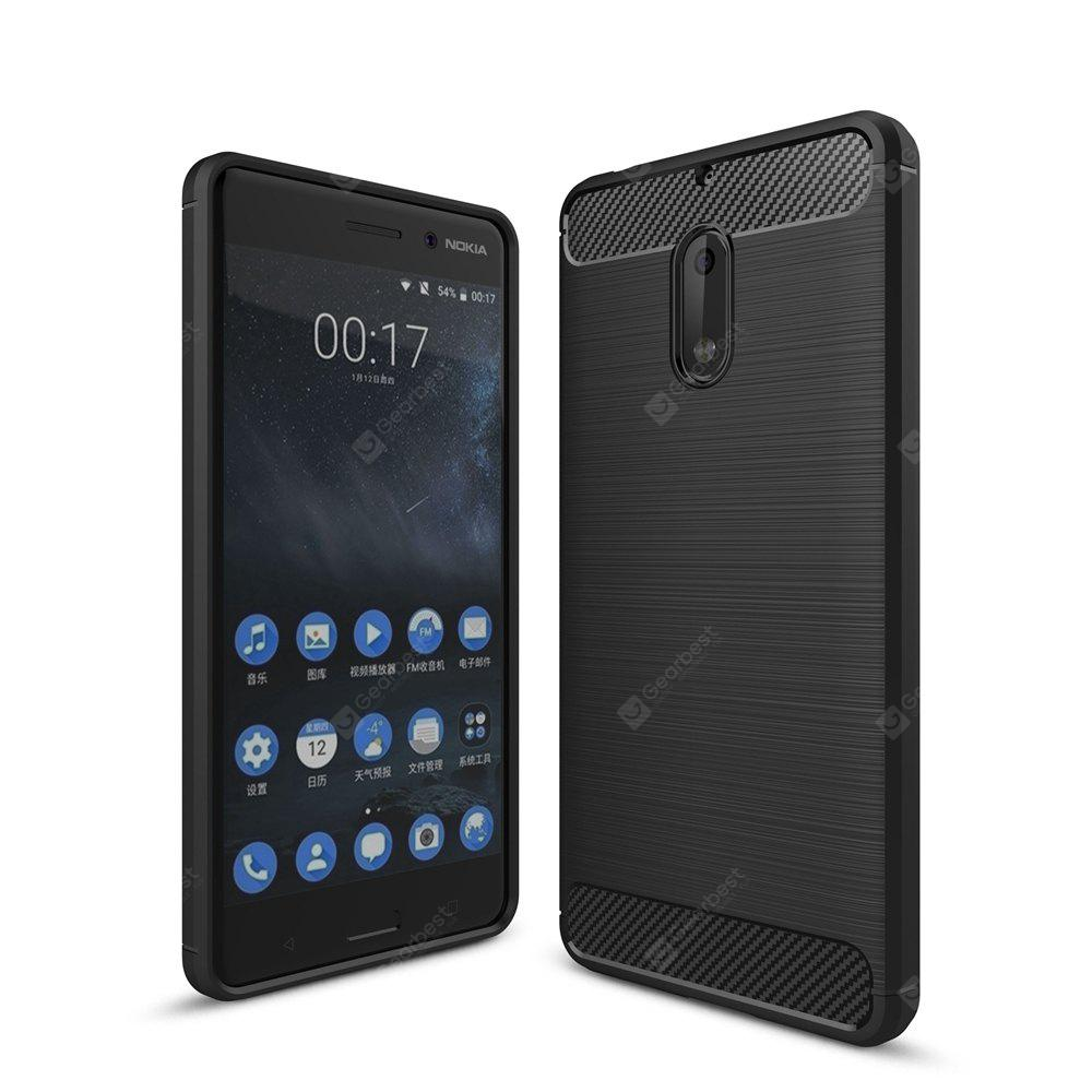 Wkae Solid Color Carbon Fiber Texture TPU Soft Protective Case for NOKIA 6