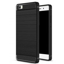 Wkae Solid Color Carbon Fiber Texture TPU Soft Protective Case for HUAWEI P8 Lite