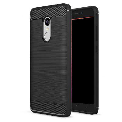 Wkae Solid Color Carbon Fiber Texture TPU Soft Protective Case for Redmi Note 4