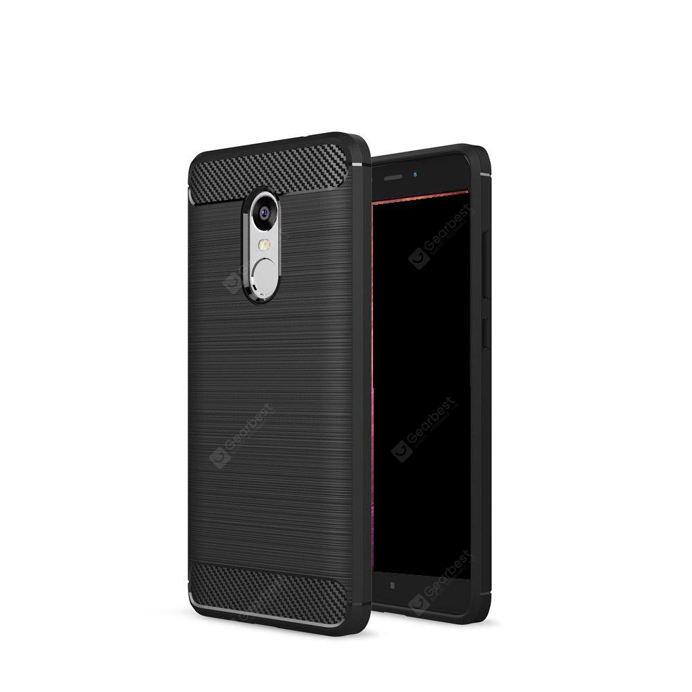 Wkae Solid Color Carbon Fiber Texture TPU Soft Protective Case for Xiaomi Redmi Note 4