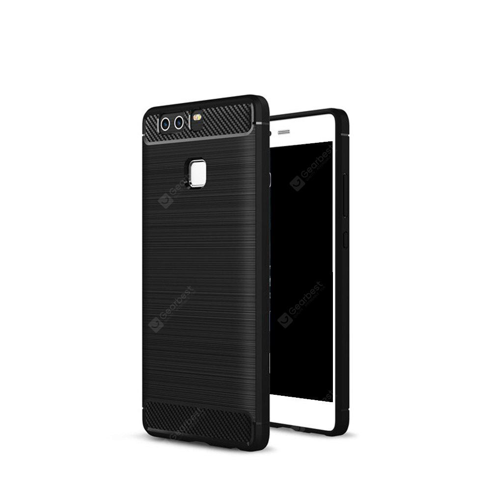 Wkae Solid Color Carbon Fiber Texture TPU Soft Protective Case for HUAWEI P9