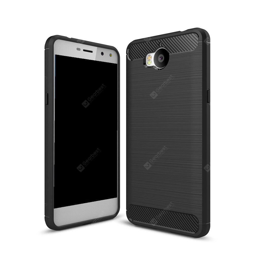 Wkae Solid Color Carbon Fiber Texture TPU Soft Protective Case for HUAWEI Y5 2017
