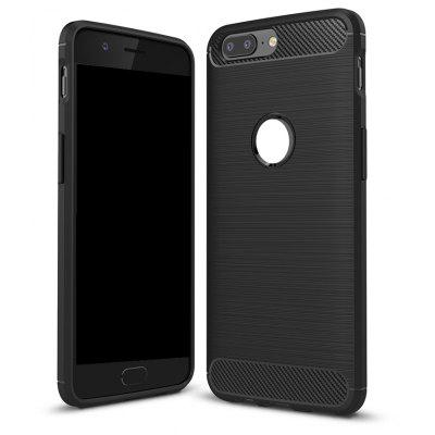 Wkae Solid Color Carbon Fiber Texture TPU Soft Protective Case for One Plus 5