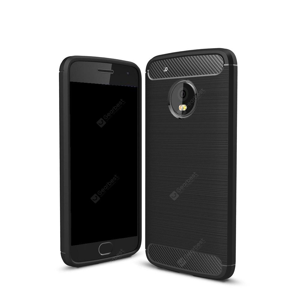 Wkae Solid Color Carbon Fiber Texture TPU Soft Protective Case for MOTO G5 Plus