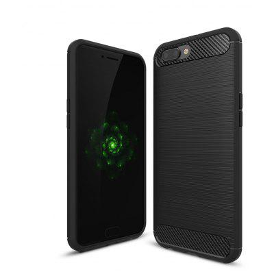 Wkae Solid Color Carbon Fiber Texture TPU Soft Protective Case for OPPO R10 Plus
