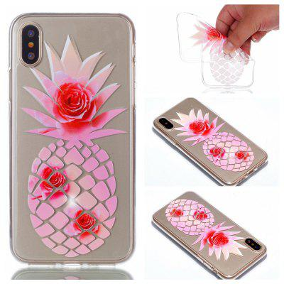 Wkae Pink Pineapple Colorful Pattern Soft Transparent Case for iPhone 8
