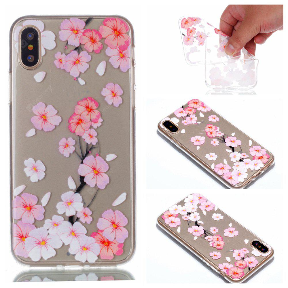 Wkae Pink Peach Blossom Colorful Pattern Soft Transparent Case iPhone X PINK