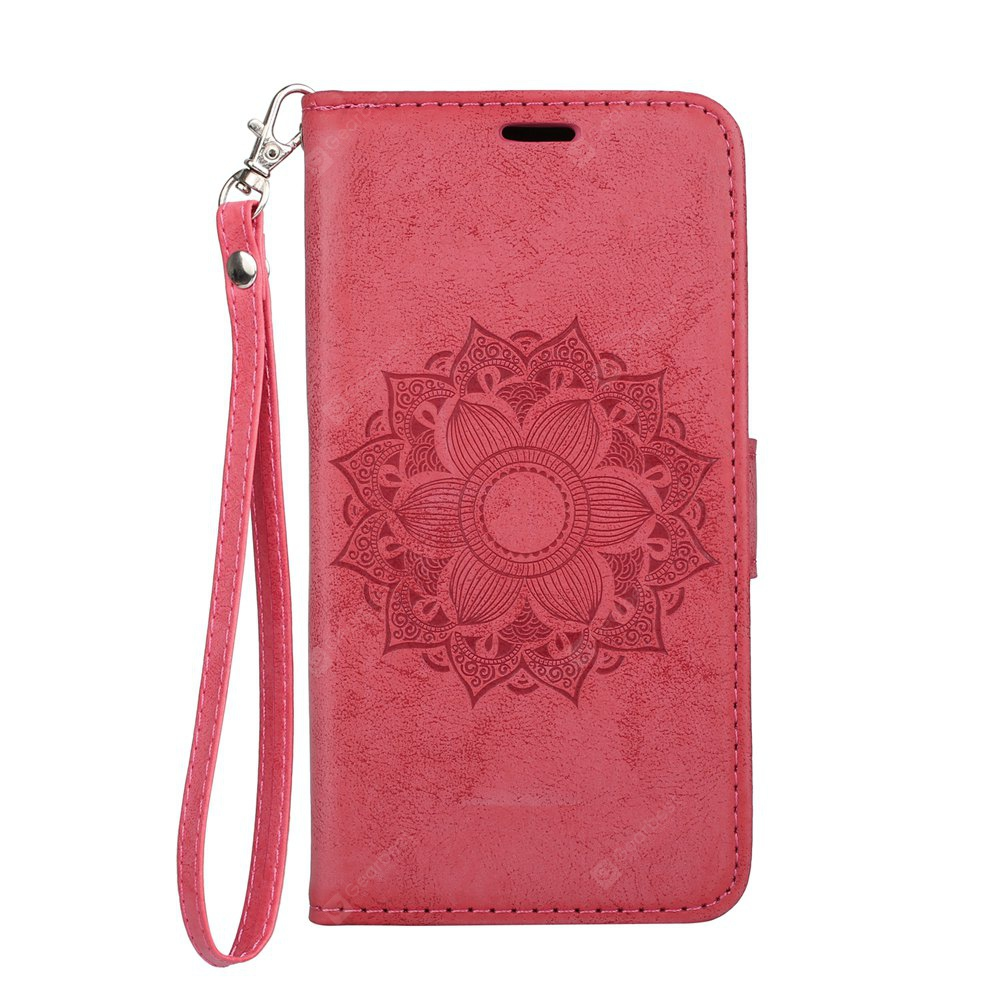 Wkae EU Version Datura Embossing PU Leather Case with Wallet Card Slots for Samsung Galaxy J3 2017