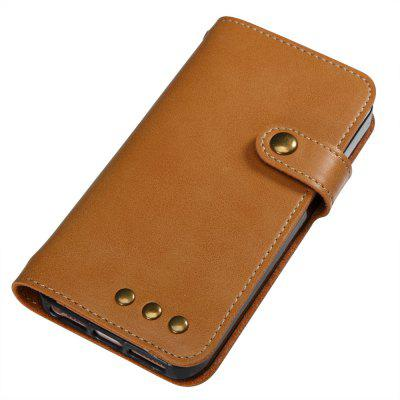 Buy YELLOW Wkae Crazy Horse Texture Retro PU Leather Case with Wallet Card Slots for iPhone 5s/SE for $8.44 in GearBest store
