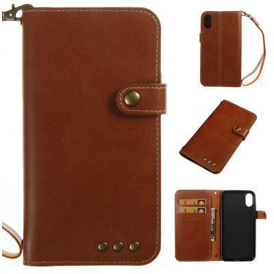Buy BROWN Wkae Crazy Horse Texture Retro PU Leather Case with Wallet Card Slots for iPhone X for $5.52 in GearBest store