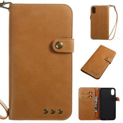 Buy YELLOW Wkae Crazy Horse Texture Retro PU Leather Case with Wallet Card Slots for iPhone X for $5.52 in GearBest store