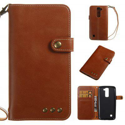 Buy BROWN Wkae Crazy Horse Texture Retro PU Leather Case with Wallet Card Slots for LG K8 for $8.41 in GearBest store