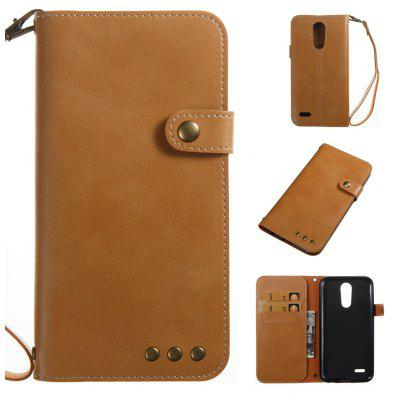 Buy YELLOW Wkae Crazy Horse Texture Retro PU Leather Case with Wallet Card Slots for LG K10 2017 for $8.41 in GearBest store