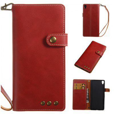 Buy RED Wkae Crazy Horse Texture Retro PU Leather Case with Wallet Card Slots for Sony Xperia XA for $8.41 in GearBest store