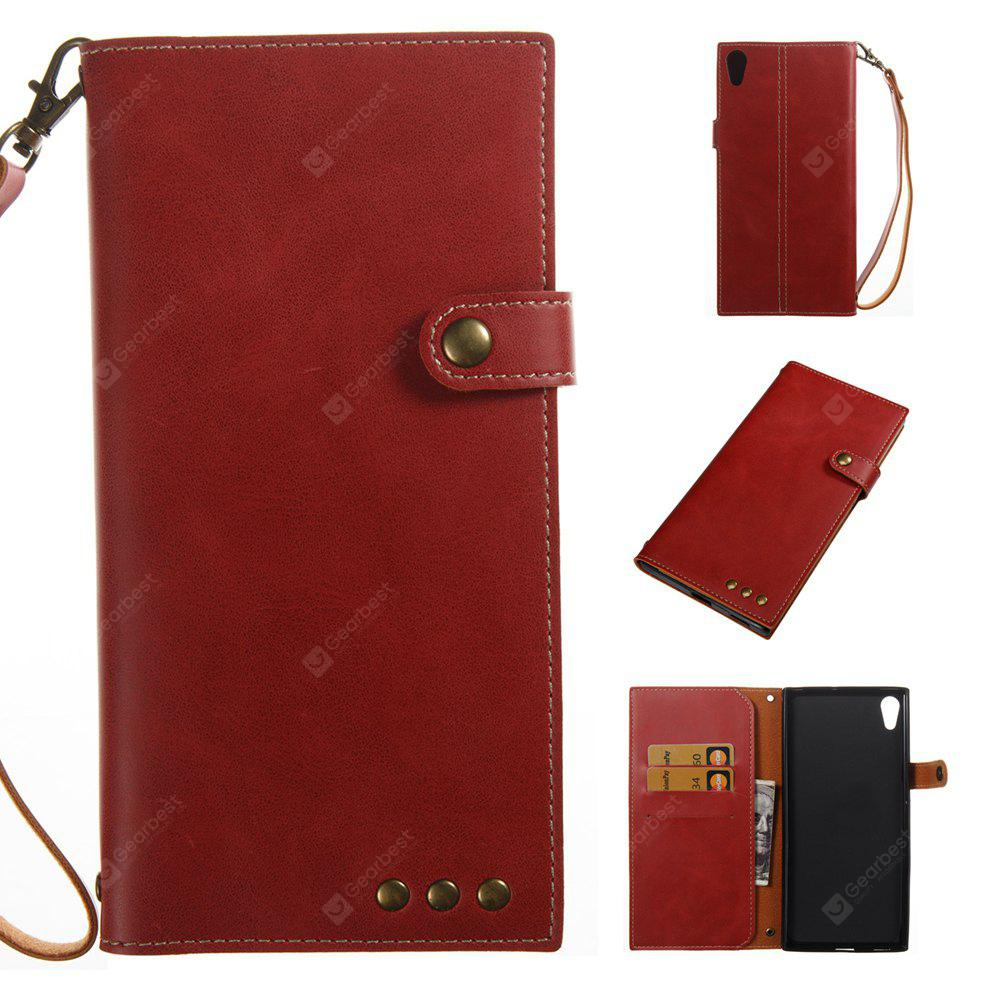 RED Wkae Crazy Horse Texture Retro PU Leather Case with Wallet Card Slots for Sony Xperia XA ULTRA