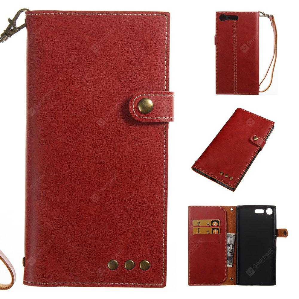 RED Wkae Crazy Horse Texture Retro PU Leather Case with Wallet Card Slots for Sony Xperia XZ PREMIUN