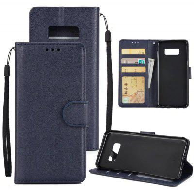 Solid Color Hard PU Leather Wallet Case with Sling for Samsung Galaxy S8