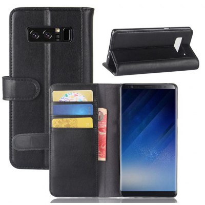 Cor sólida Real Cow Leather Wallet Style Front Buckle Flip Case com Slots de cartão para Samsung Galaxy Note 8