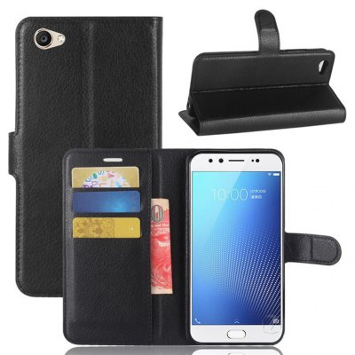 Solid Color Litchi Pattern Wallet Style Front Buckle Flip PU Leather Case with Card Slots for VIVO X9S