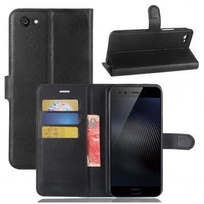 Solid Color Litchi Pattern Wallet Style Front Buckle Flip PU Leather Case with Card Slots for VIVO X9S Plus