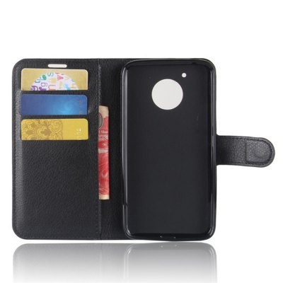 Solid Color Litchi Pattern Wallet Style Front Buckle Flip PU Leather Case with Card Slots for Motorola Moto E4 America Edition