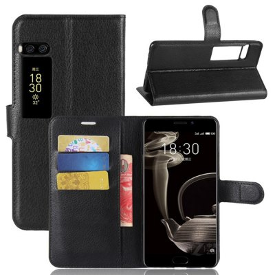 Solid Color Litchi Pattern Wallet Style Front Buckle Flip PU Leather Case with Card Slots for Meizu Pro 7 Plus