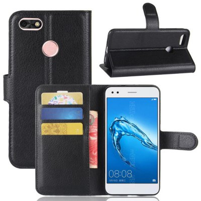 Solid Color Litchi Pattern Wallet Style Front Buckle Flip PU Leather Case with Card Slots for Huawei Enjoy 7