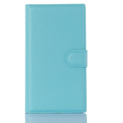 Solid Color Litchi Pattern Wallet Style Front Buckle Flip PU Leather Case with Card Slots for Blackberry Priv