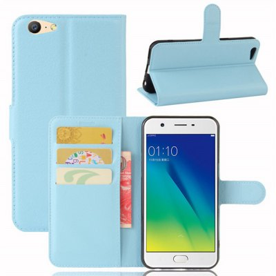 Solid Color Litchi Pattern Wallet Style Front Buckle Flip PU Leather Case with Card Slots for OPPO A57